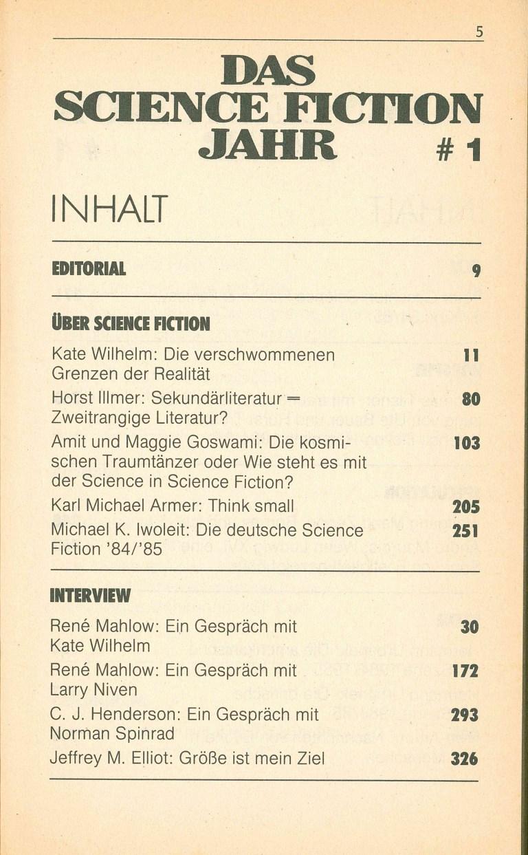 Das Science Fiction Jahr 1986 - Inhalt Seite 1