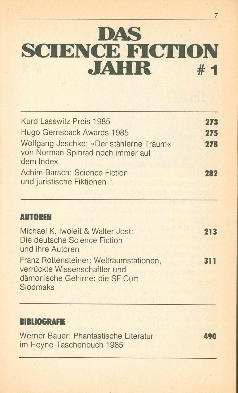 Das Science Fiction Jahr 1986 - Inhalt Seite 3