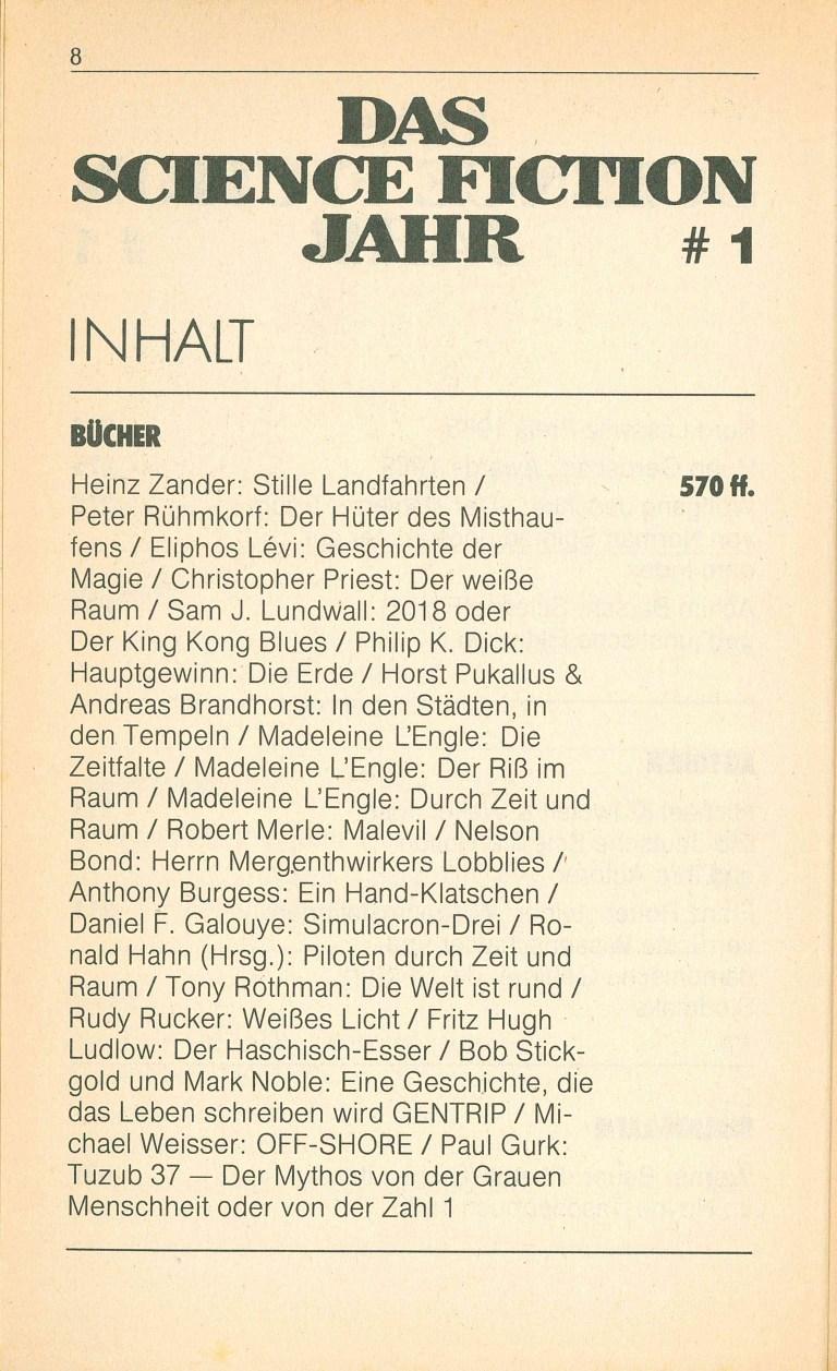Das Science Fiction Jahr 1986 - Inhalt Seite 4