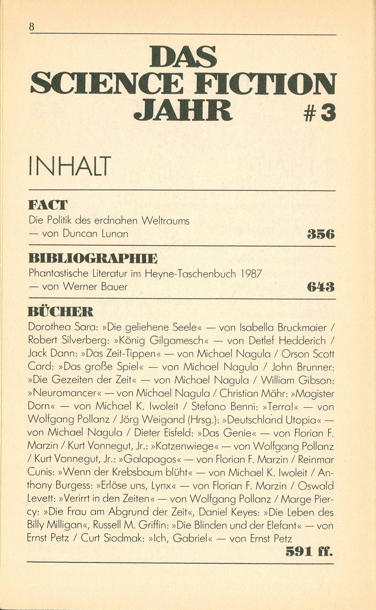 Science Fiction Jahr 1988 - Inhalt Seite 4