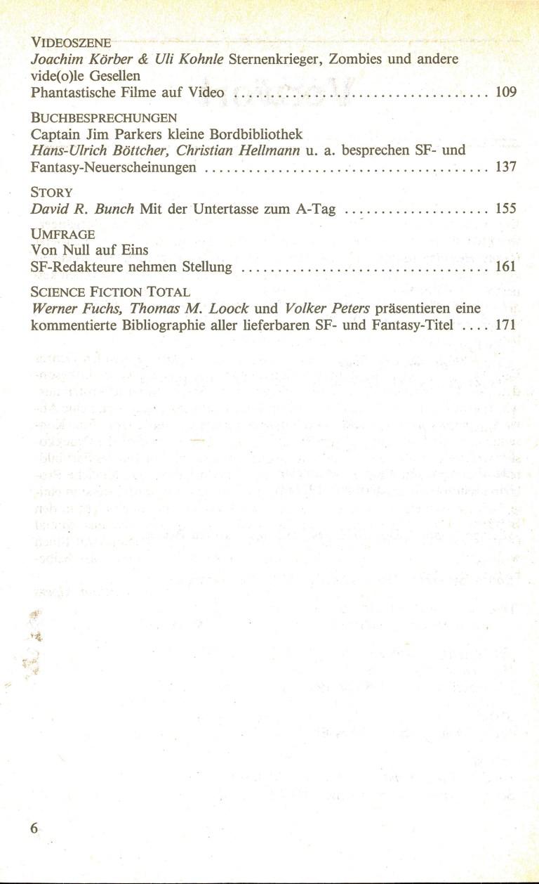 Science Fiction Jahrbuch 1985 - Inhalt Seite 2