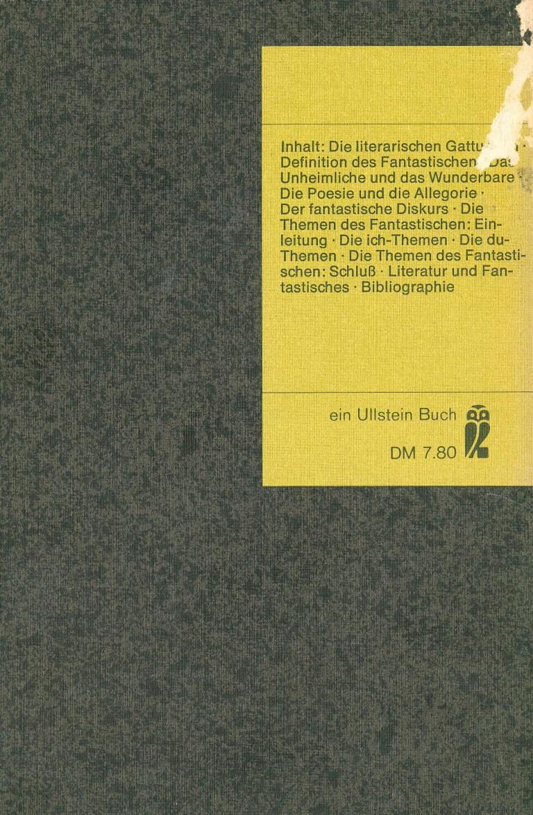 Einführunh in die fantastische Literatur, Ullstein - Rückencover