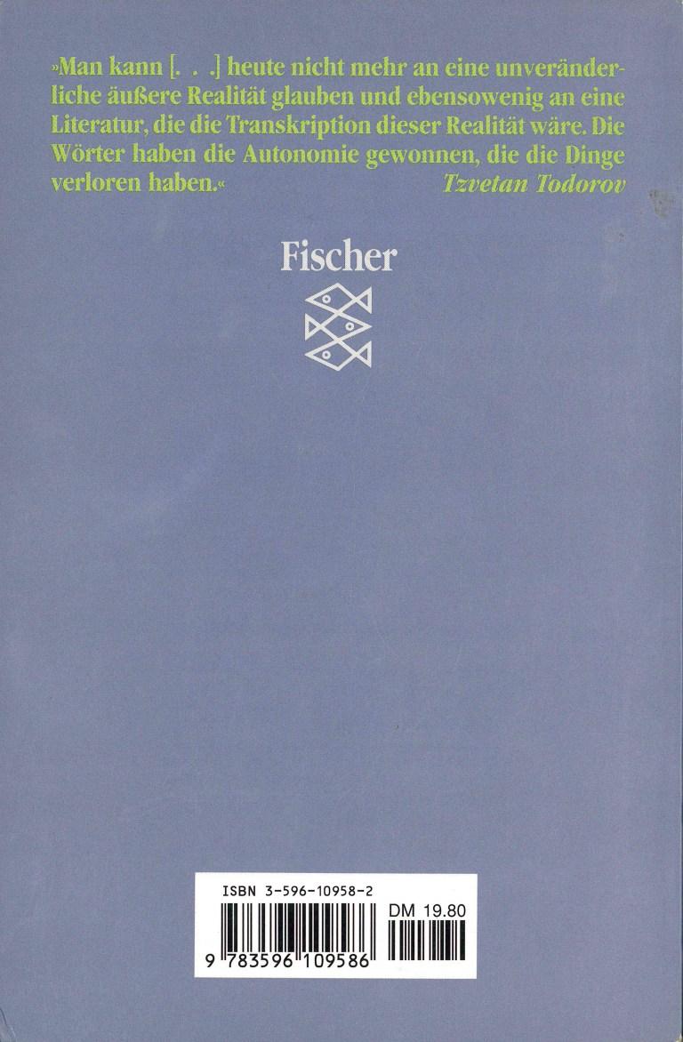 Einführunh in die fantastische Literatur, Fischer - Rückencover