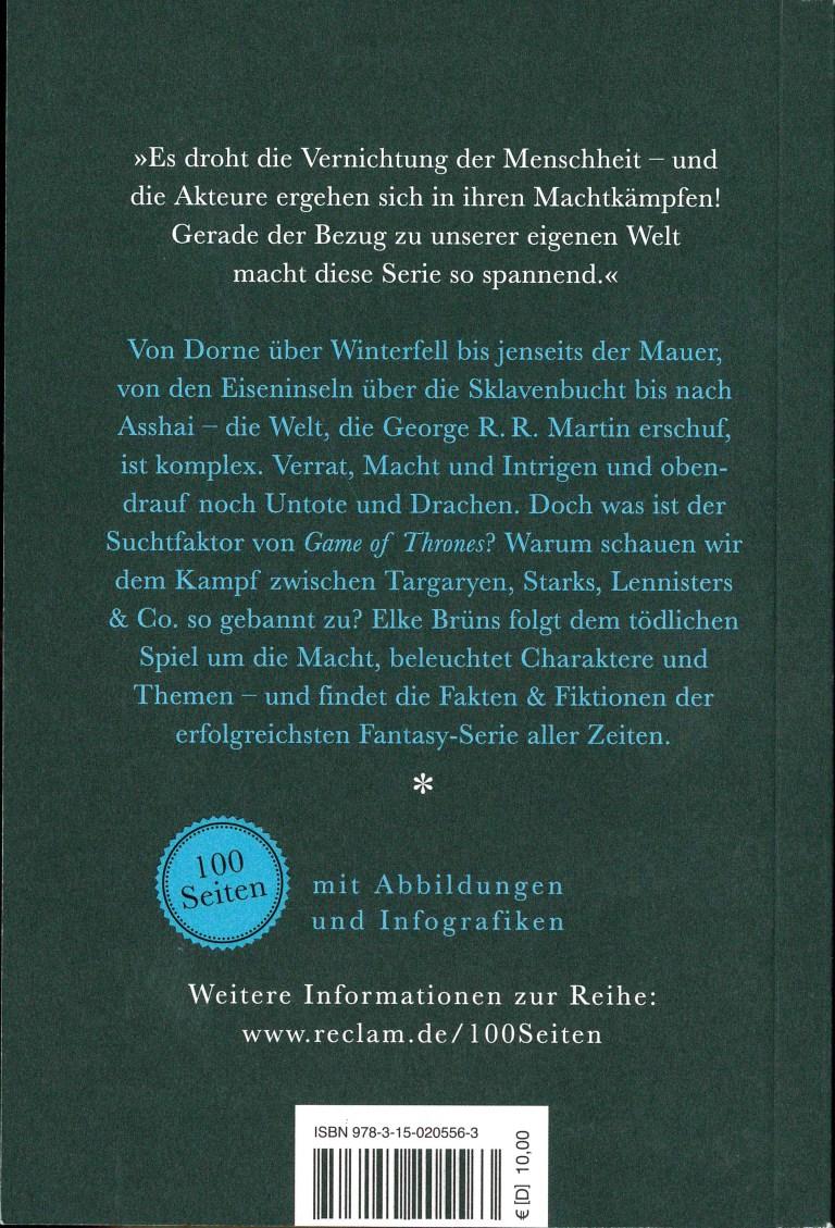 Game of Thrones-100 Seiten - Rückencover