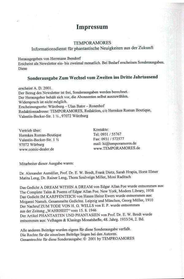 Temporamores, Sonderausgabe 2001 - Impressum