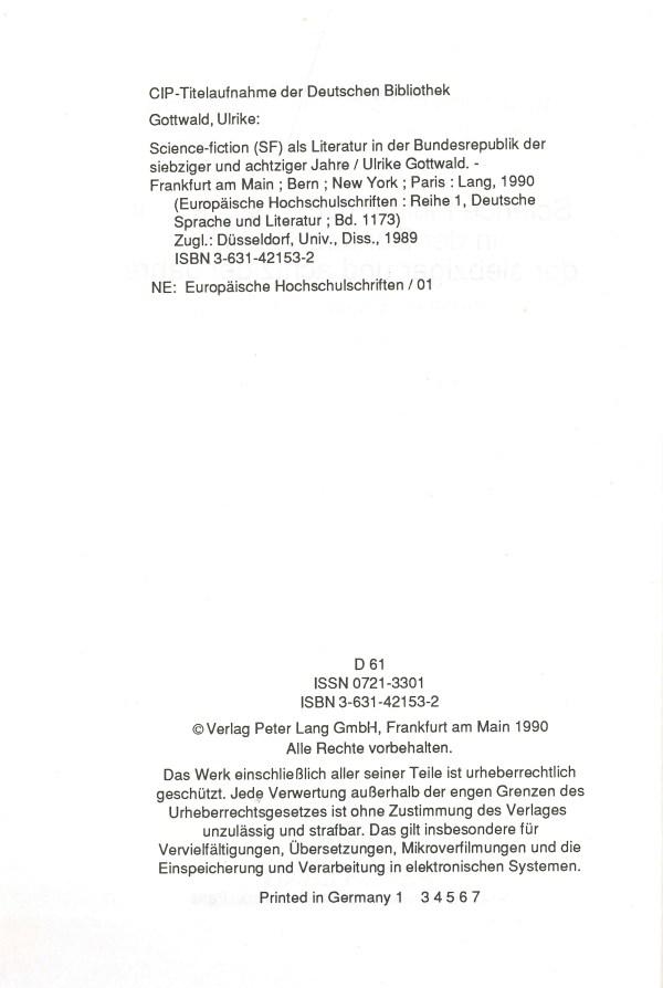 SF als Literatur in der BRD der 70er und 80er Jahre - Impressum