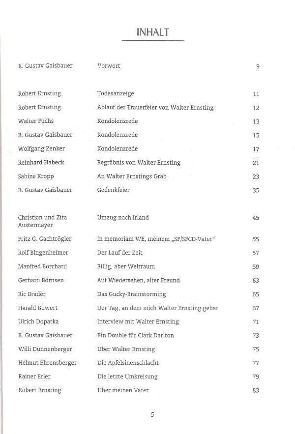 Walter Ernsting zum Gedächtnis - Inhalt Seite 1