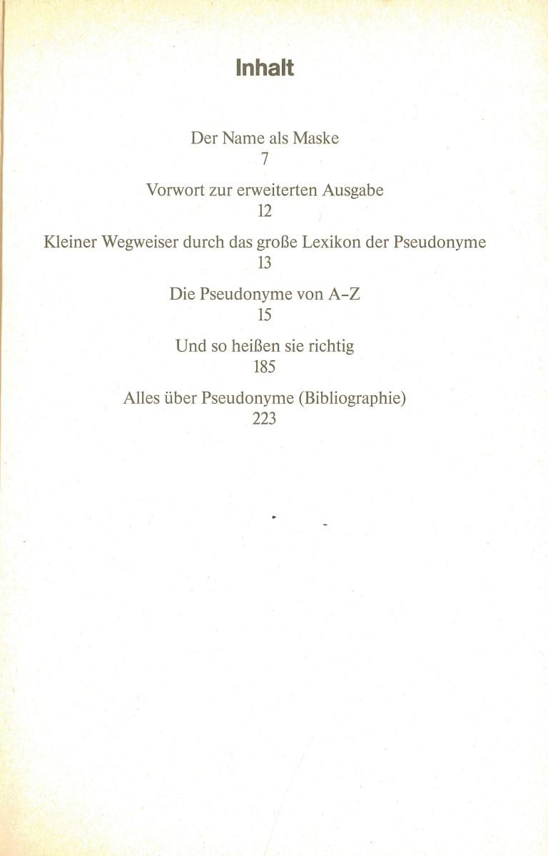 Lexikon der Pseudonyme - Inhalt