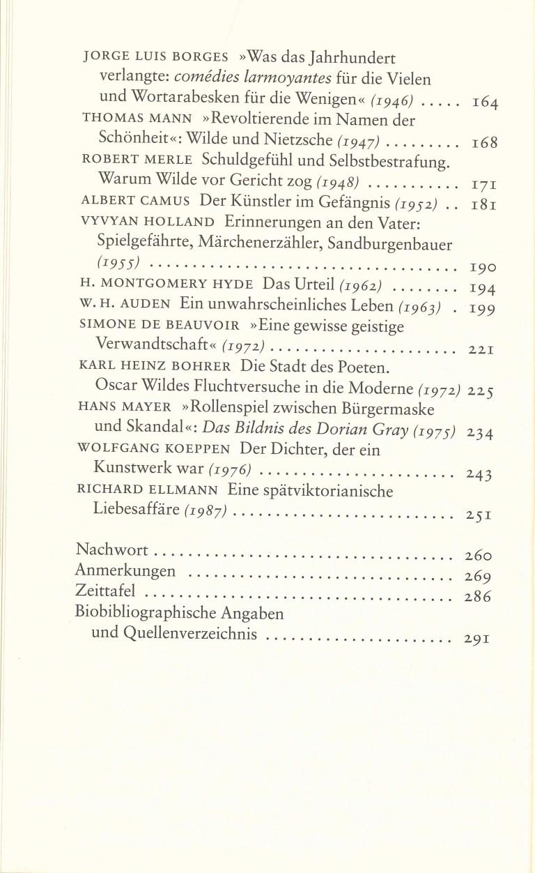 Oskar Wilde im Spiegel des Jahrhunderts - Inhalt Seite 2
