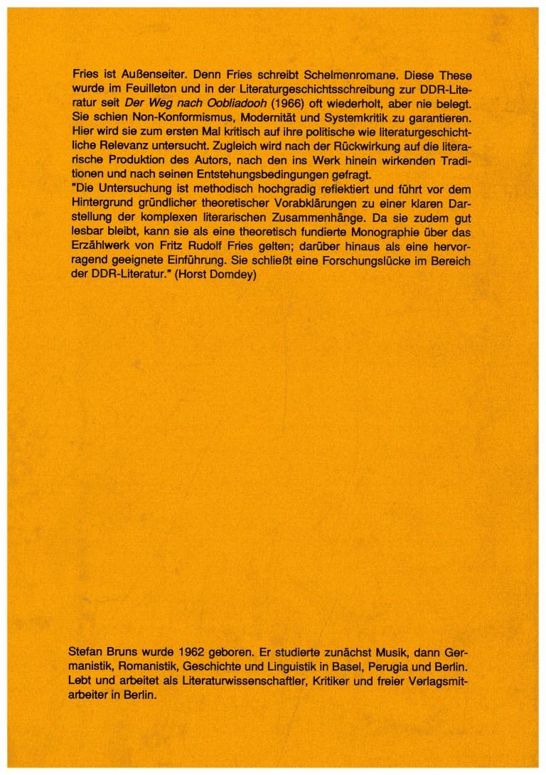 Das pikareske in den Romanen von Fritz Rudolf Fries - Rückencover
