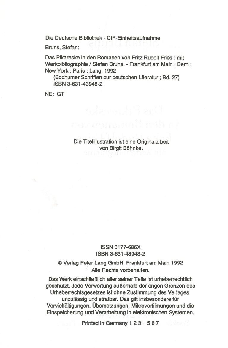 Das pikareske in den Romanen von Fritz Rudolf Fries - Impressum