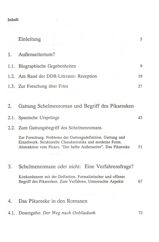 Das pikareske in den Romanen von Fritz Rudolf Fries - Inhalt Seite 1