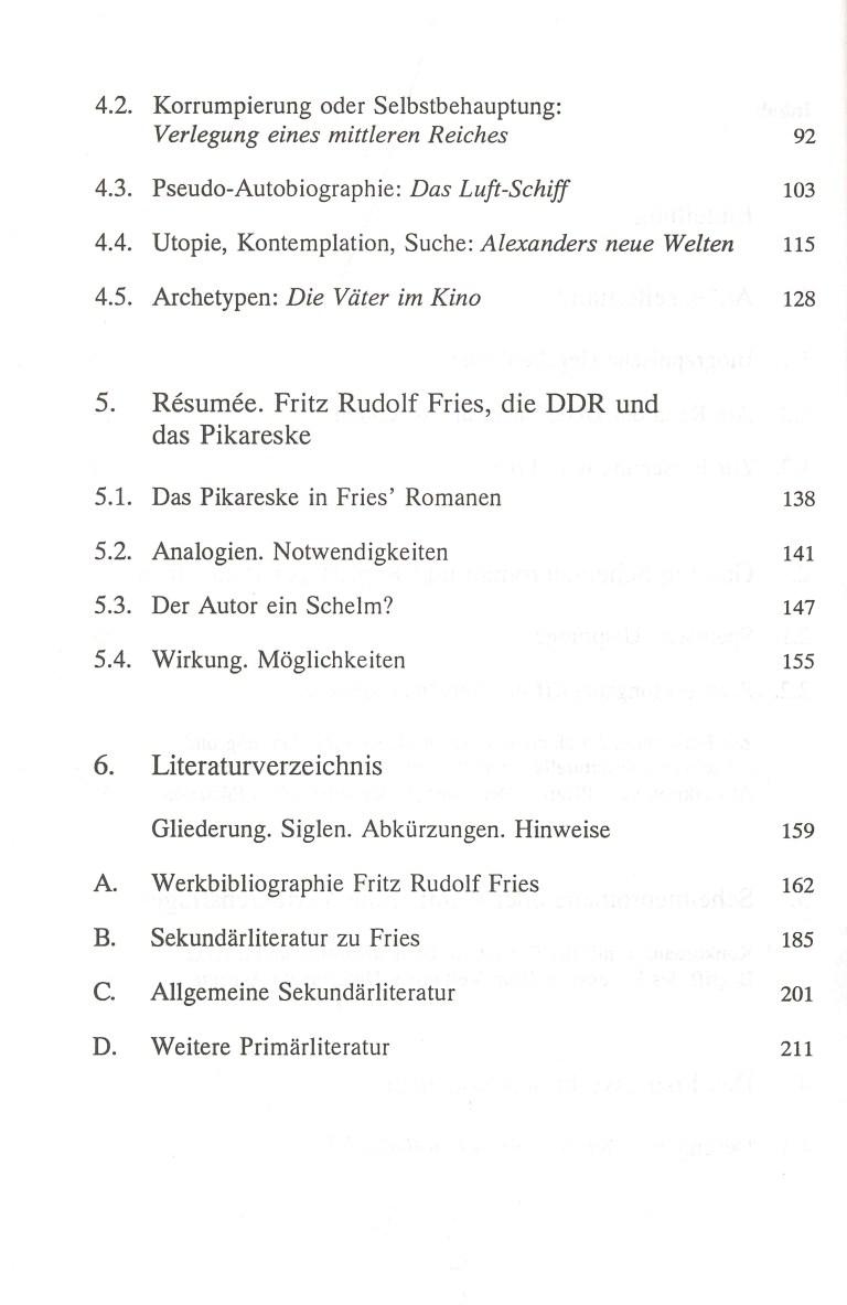Das pikareske in den Romanen von Fritz Rudolf Fries - Inhalt Seite 2