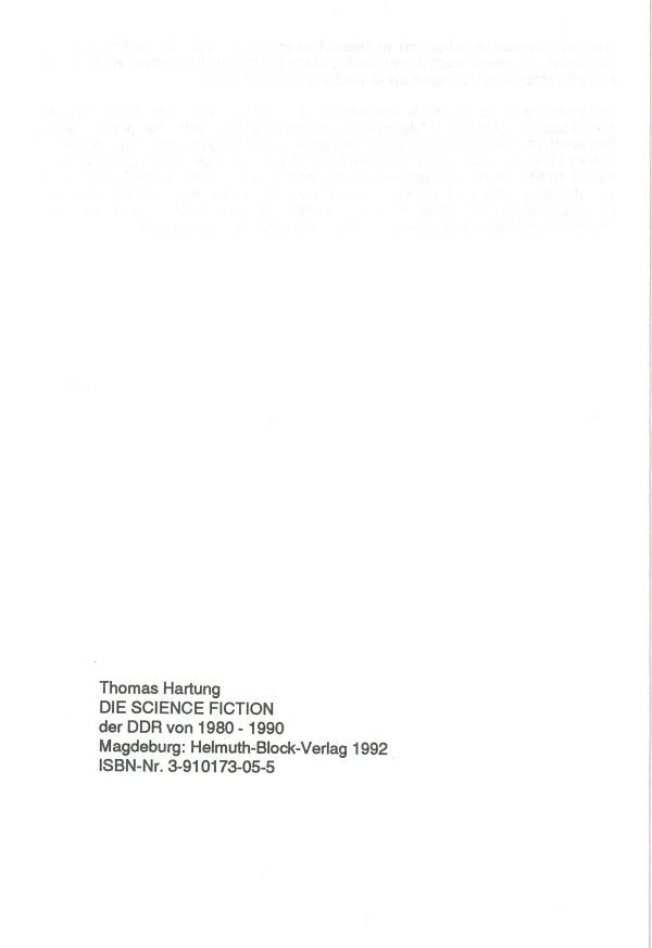 Die SF der DDR von 1980-1990 - Impressum