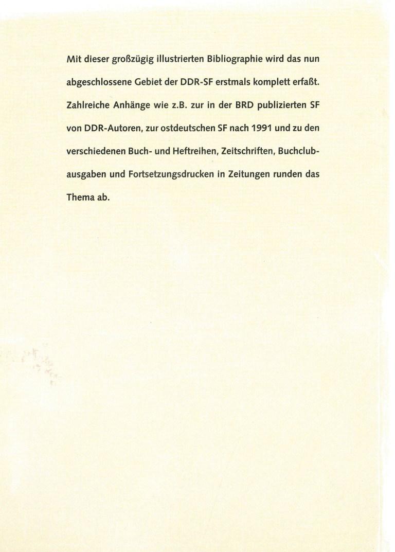 Die Bibliographie der DDR-Science Fiction - Rückencover