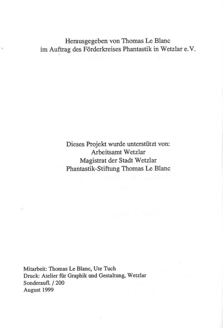 Bibliographie der Phantastischen Literatur der DDR - Impressum