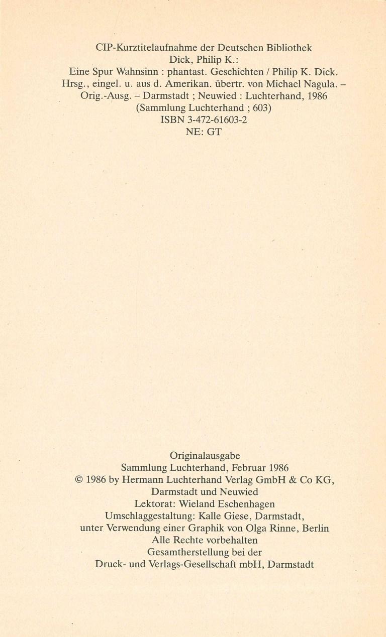 P. K. Dick-Eine Spur Wahnsinn - Impressum