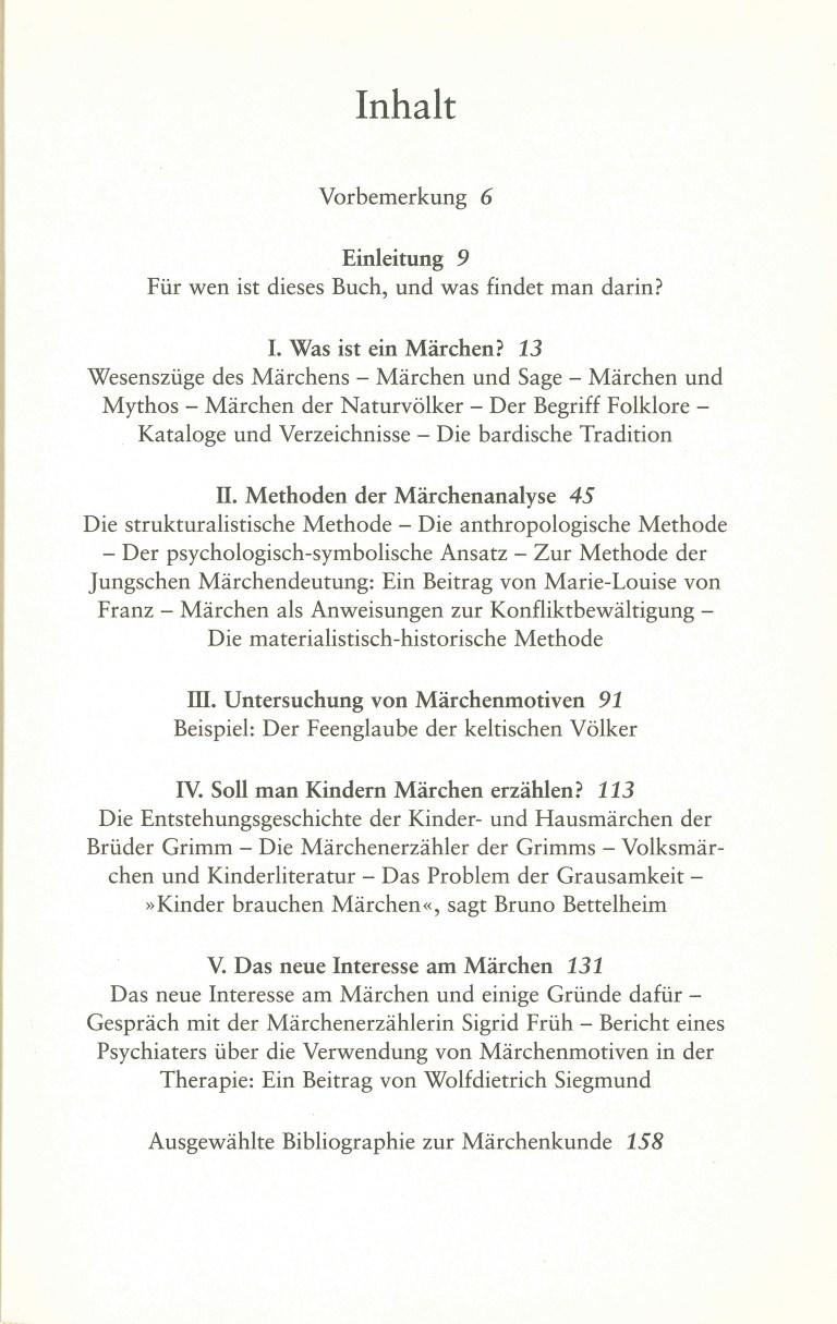 Märchen und Märchendeutung - Inhalt