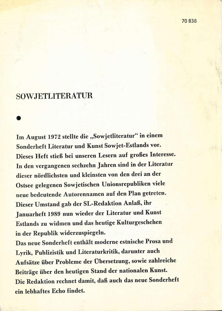 Sowjetliteratur, 1988/12 - Rückencover