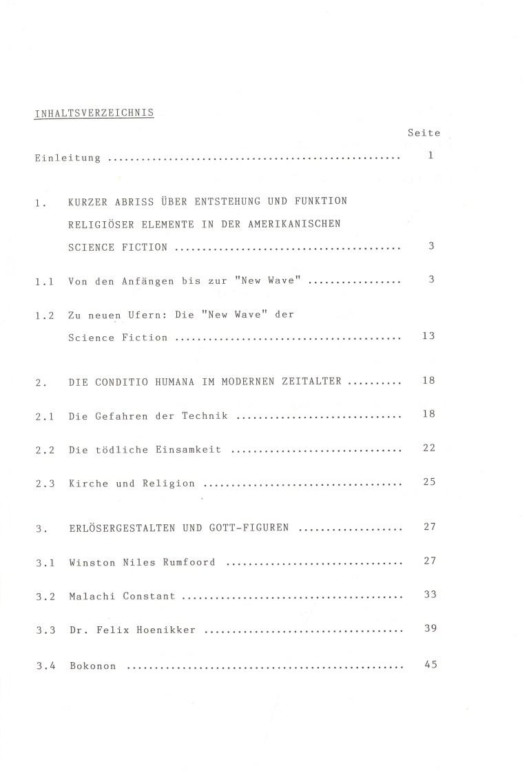 Die Rolle des Religiösen in den Romanen von Kurt Vonnegut - Inhalt Seite 1