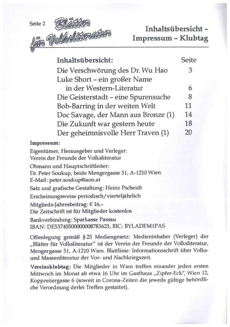 Blätter für Volksliteratur, Nr. 3, Juli 2021 - Impressum und Inhalt