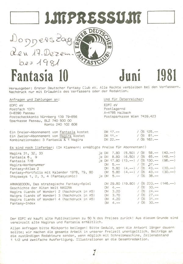 Fantasia, Nr. 10 - Impressum