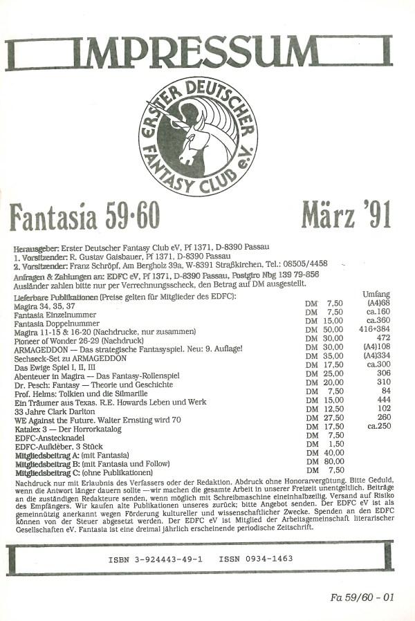 Fantasia, Nr. 59-60 - Impressum