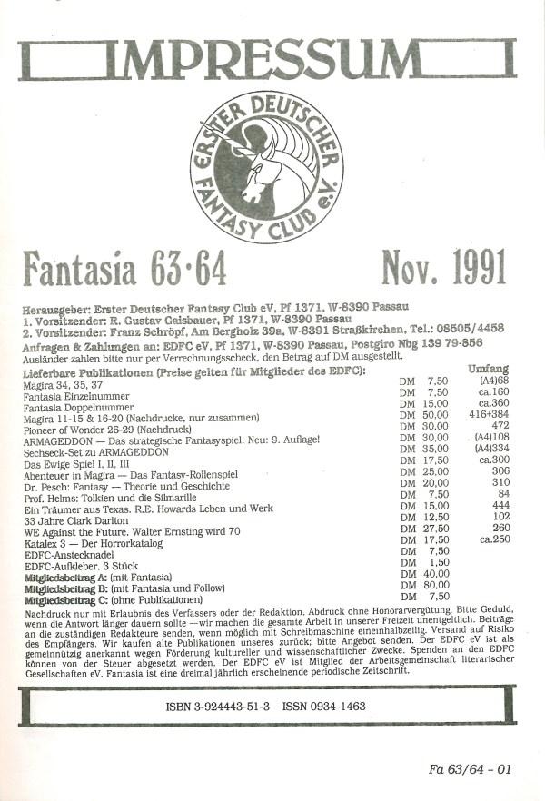 Fantasia, Nr. 63-64 - Impressum