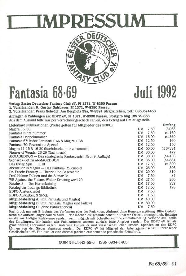 Fantasia, Nr. 68-69 - Impressum