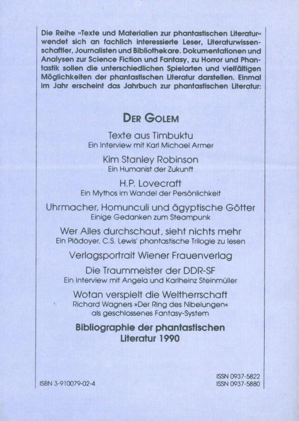 Golen 2, 1990 - Rückencover
