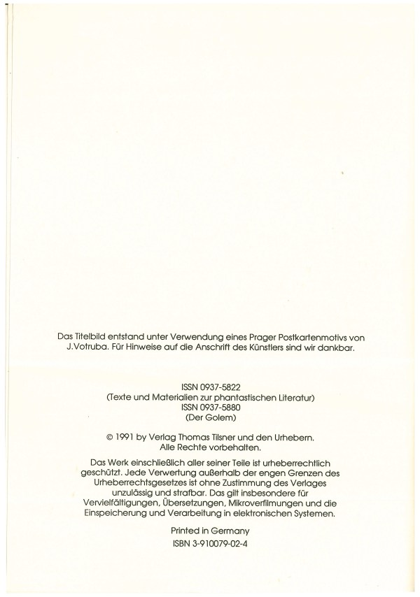 Golen 2, 1990 - Impressum