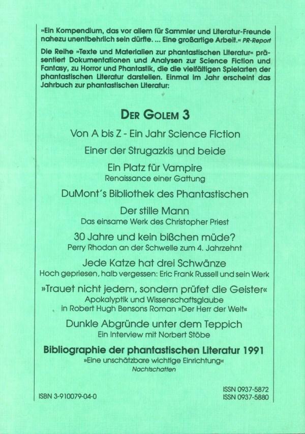 Golem 3, 1991 - Rückencover