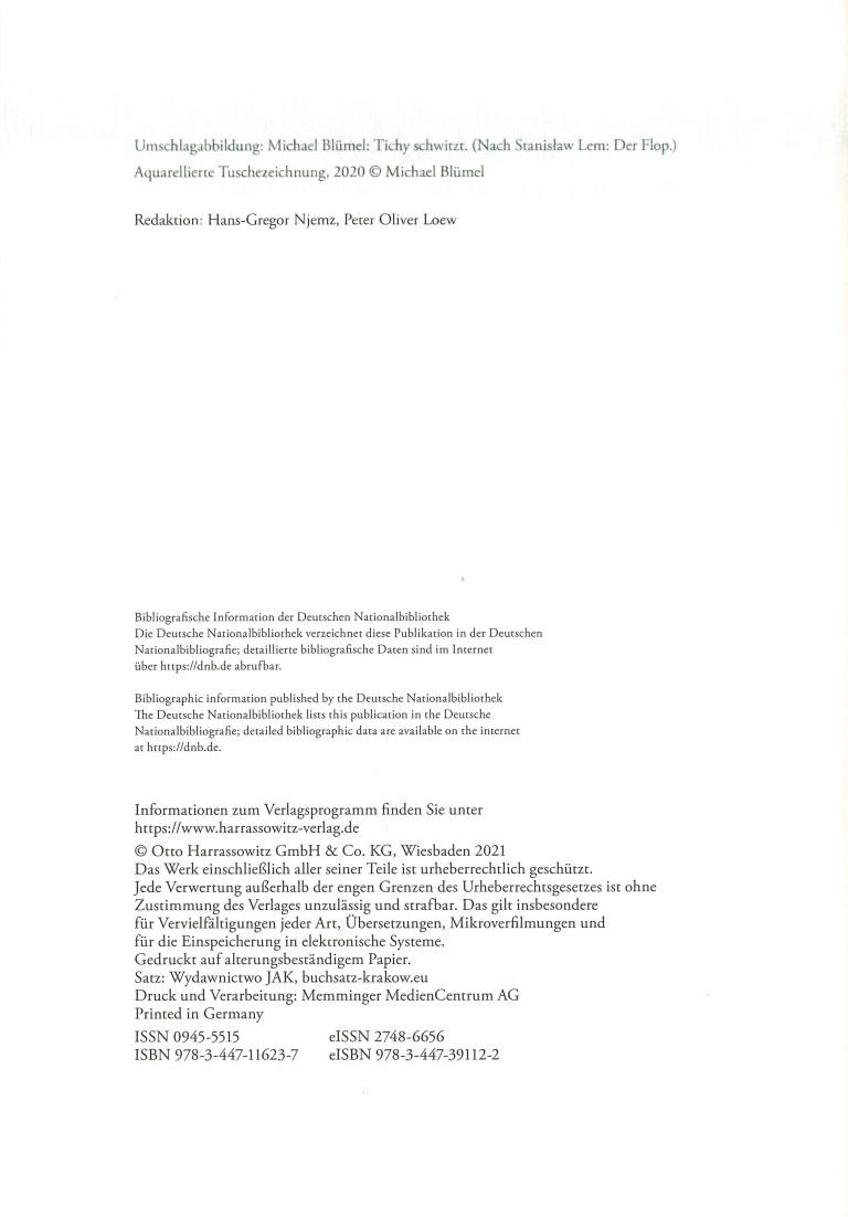 Kosmos Stanislaw Lem - Impressum