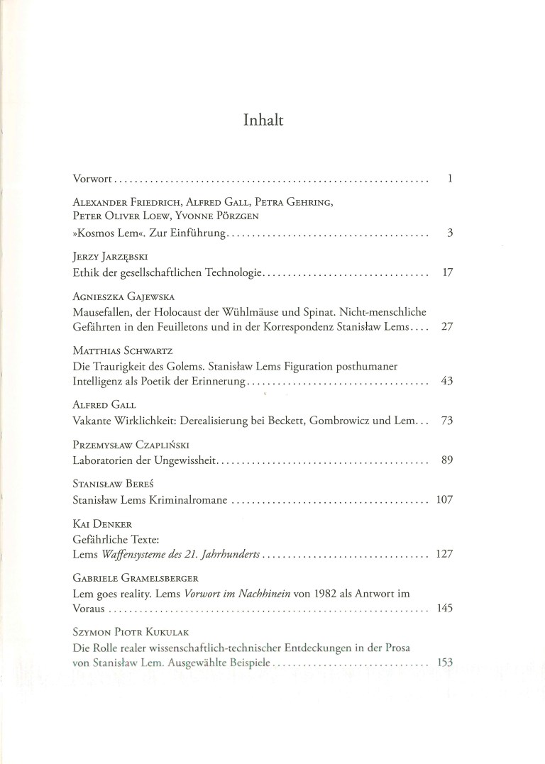 Kosmos Stanislaw Lem - Inhalt Seite 1