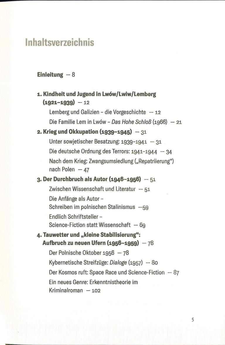 Stanislaw Lem-Leben in der Zukunft - Inhalt Seite 1