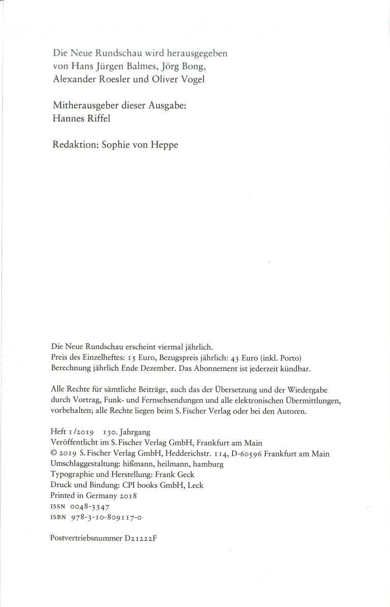NEue Rundschau, Heft 1, 2019 - Impressum