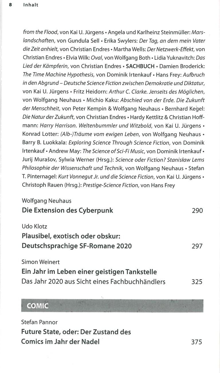 Das Science Fiction Jahr 2021 - Inhalt Seite 4
