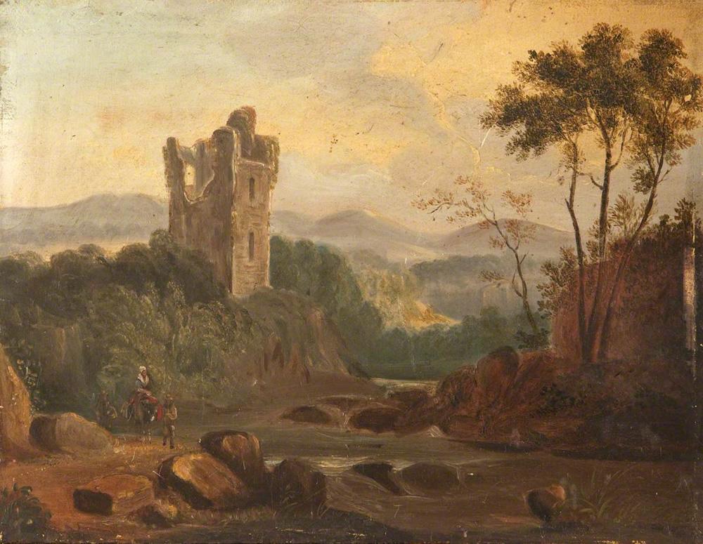 Rebecca Dulcibella Orpen, A River Landscape with a Ruined Tower, Ireland