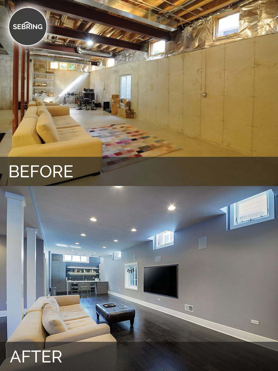 Sidd  Nishas Basement Before  After Pictures  Home Remodeling Contractors  Sebring Design Build