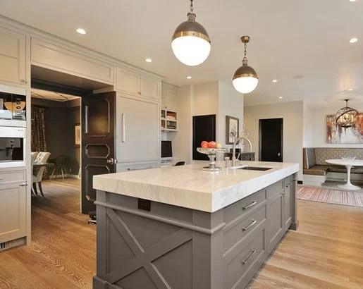 grey kitchen island discounted appliances the psychology of why gray cabinets are so popular home sebring services