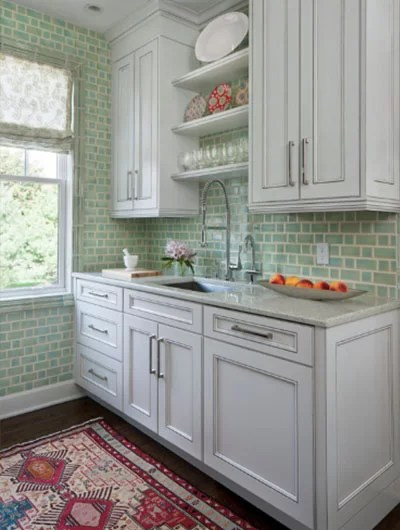 sage green wall tiles for kitchen