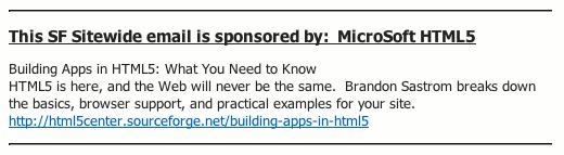sourceforge net m envoie sa newsletter avec un gros morceau de wtf dedans