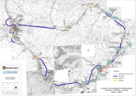 collegamento ferroviario fraCalalzo di CadoreeCortina d'Ampezzo