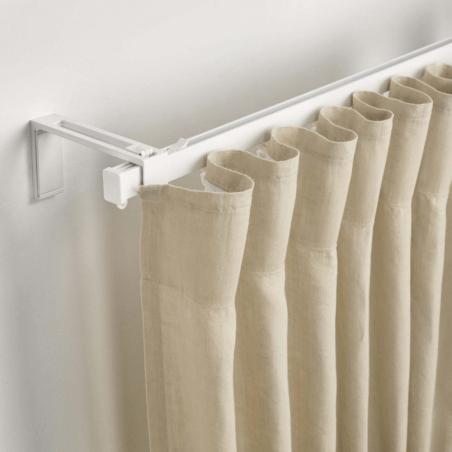 tringle rail unirail laque blanc pour rideau avec glisseur longueur 2 metres