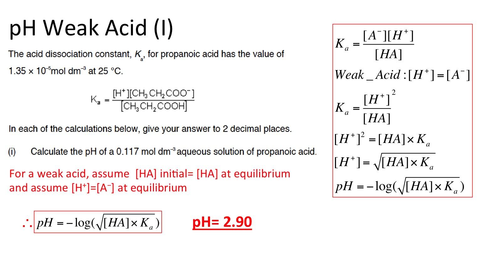 Weak Acids And Bases Ka For Weak Acids