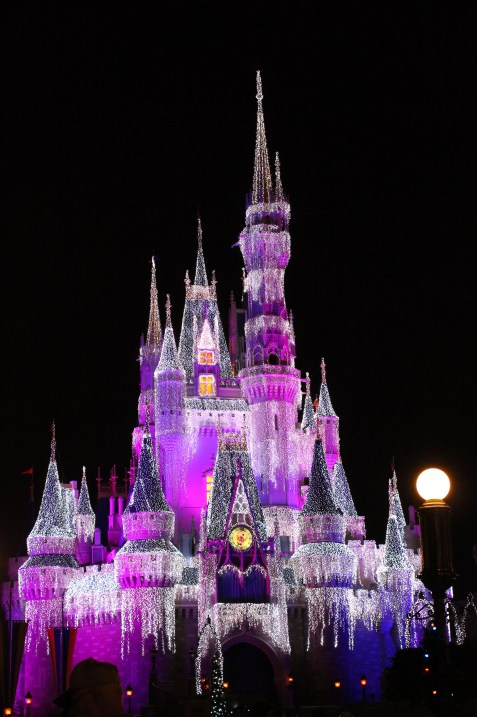 The castle at night...dressed with lit icicles. So beautiful!