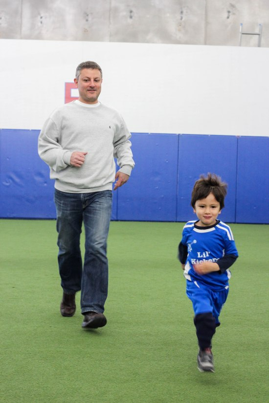 Parent participation class was so fun. Luke loved showing his dad around the field.