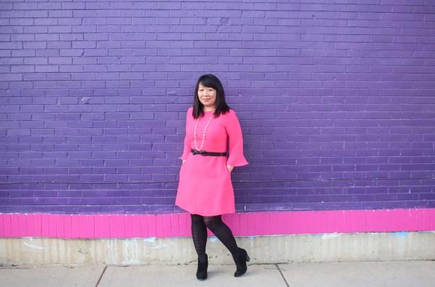 BR Pink Flutter Sleeve Dress1