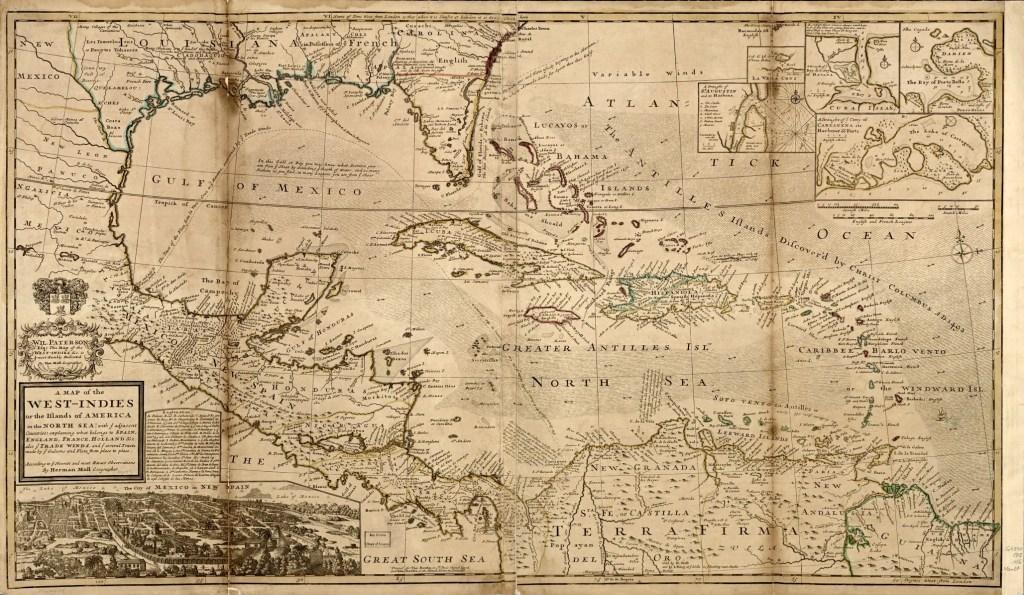 1715 Caribbean map