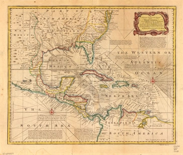 A 1720 map showing the routes of Spanish treasure fleets in the Caribbean from the Library of Congress.